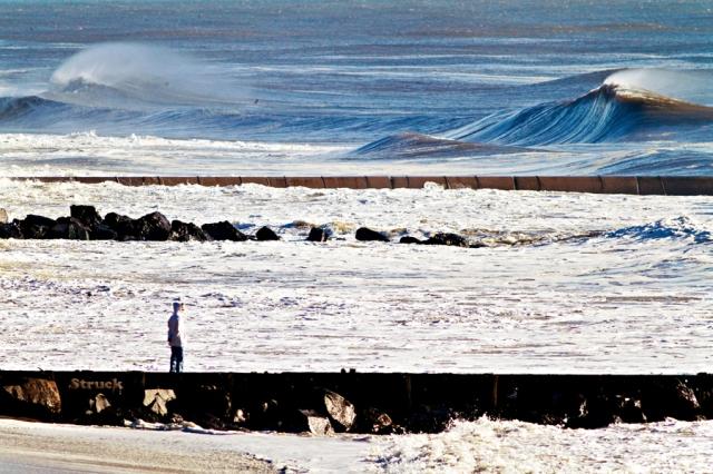 surfing slabs. biggest nj wave.