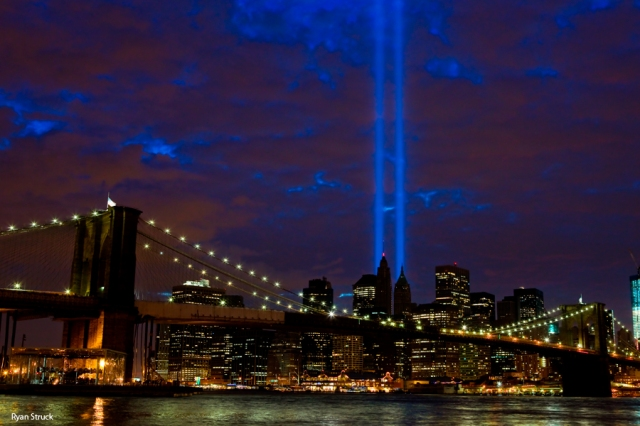 Tribute in Light. Brooklyn Bridge. NYC Photographer. Landscape photography. Iconic Brooklyn Bridge. 9 11. September 11. New York City Skyline. Night. Light Memorial. NYC Memorial. September 11 Memorial.