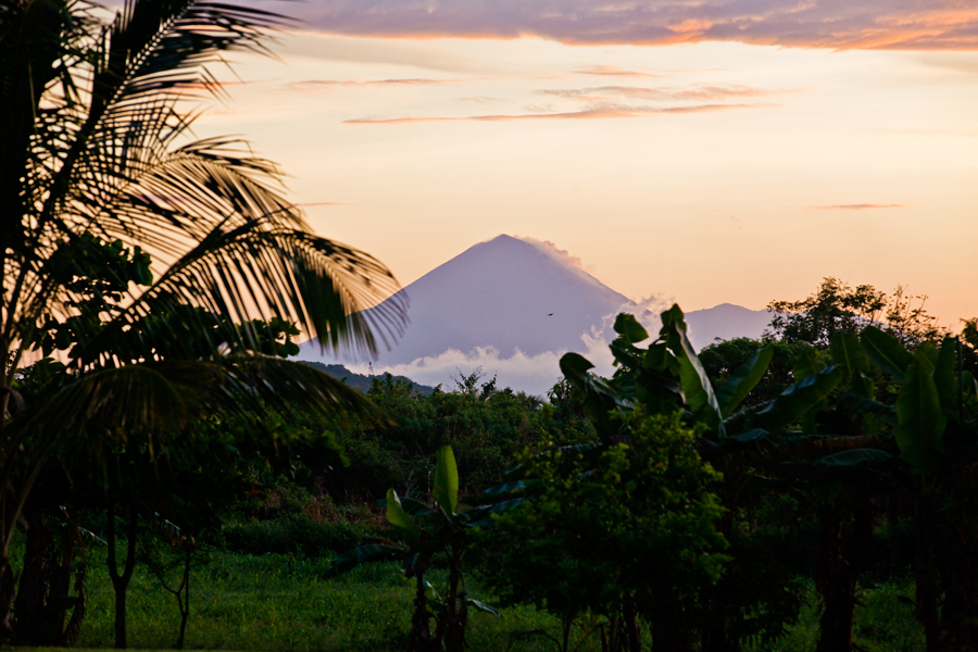 picture of a volcano. volconology. jungle. travel photography. central america. tourism. palm trees. sunrise.