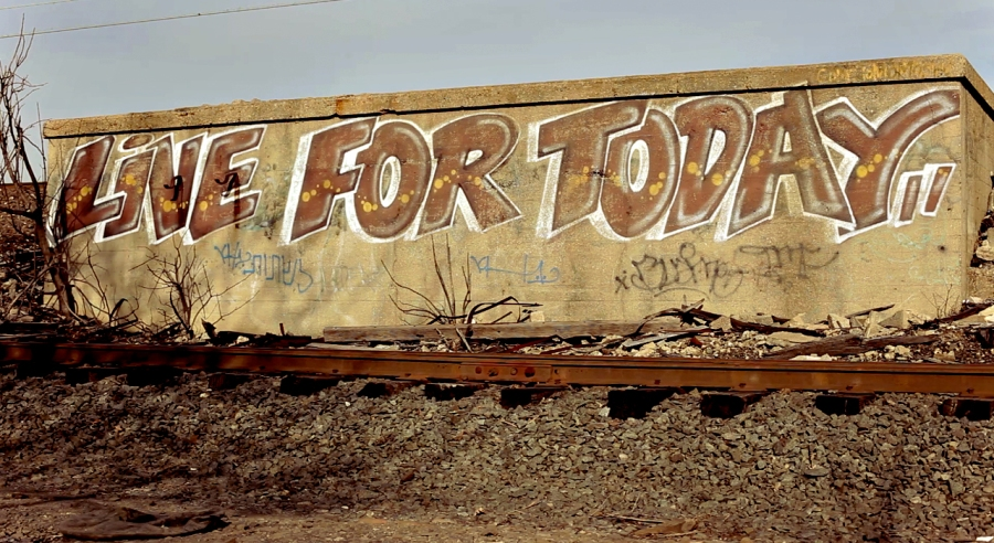 live for today. graffiti. newark. train tracks. throwup. dubs.