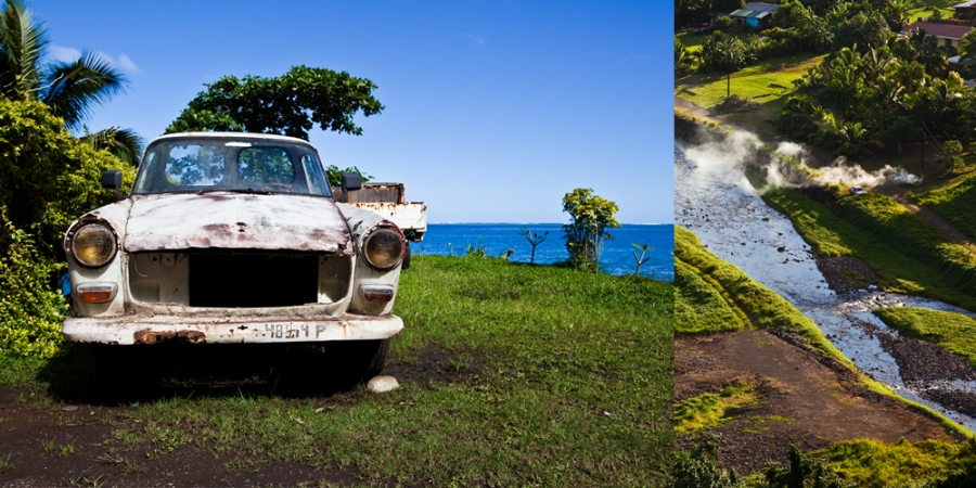 old car. vintage car. destination photographer. tahiti. tahitian car. aerial view of a river delta. aerial photographer. river bed. smoke. fire. photos from a plane.