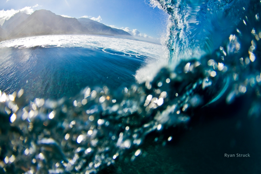 tahiti. teahupoo surf. fisheye. mountain. pacific ocean.