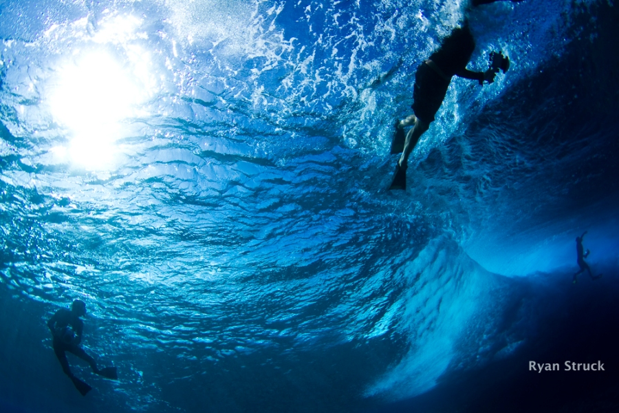 underwater images. tahiti. teahupoo. what a wave looks like underwater. fisheye. canon camera.