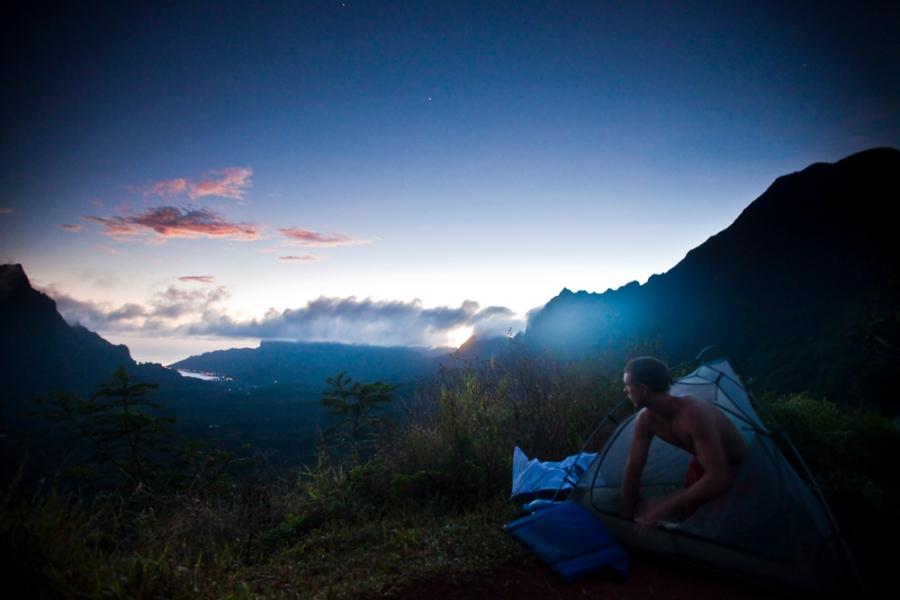 jon mincher. camping. backpacking. tahiti. moorea. mountain. sunrise. back country.