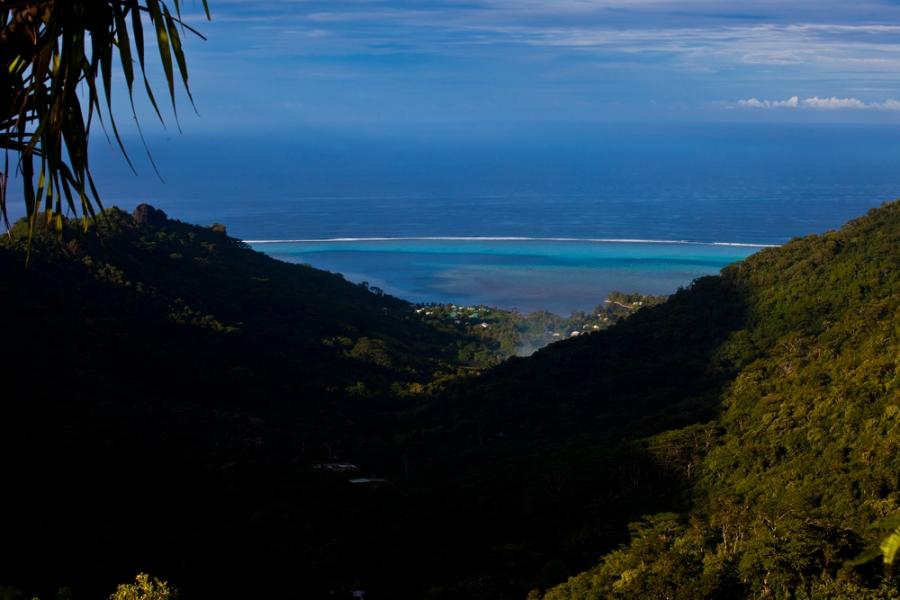 mountain view. pacific ocean. tropical lagoon. reef. reef pass. tahiti. overlook. travel photo. destination photo.