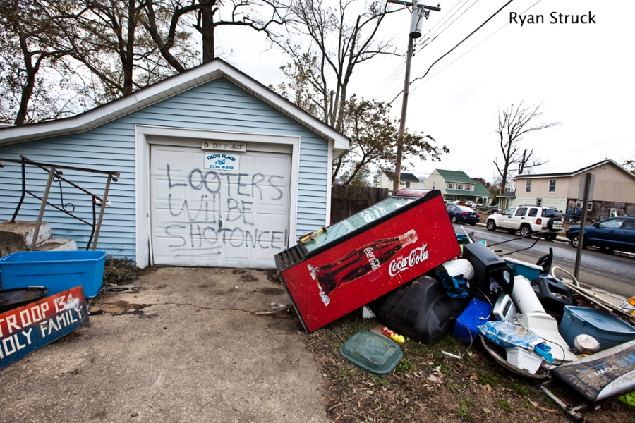 State of Emergency. Union Beach. #sandyprobz. new jersey hurricane. hurricane sandy. bayshore. damage. photojournalism. photos of hurricane sandy. looting. violence. looters will be shot.