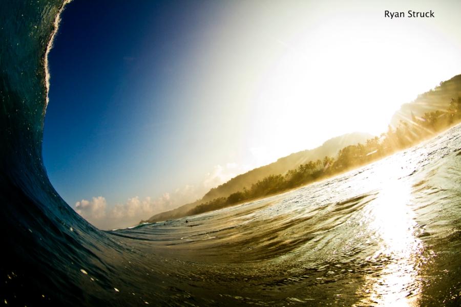 hawaii. pipeline. backdoor. surf photography. ryan struck. surf photographer. sunrise from the ocean. pacific ocean.