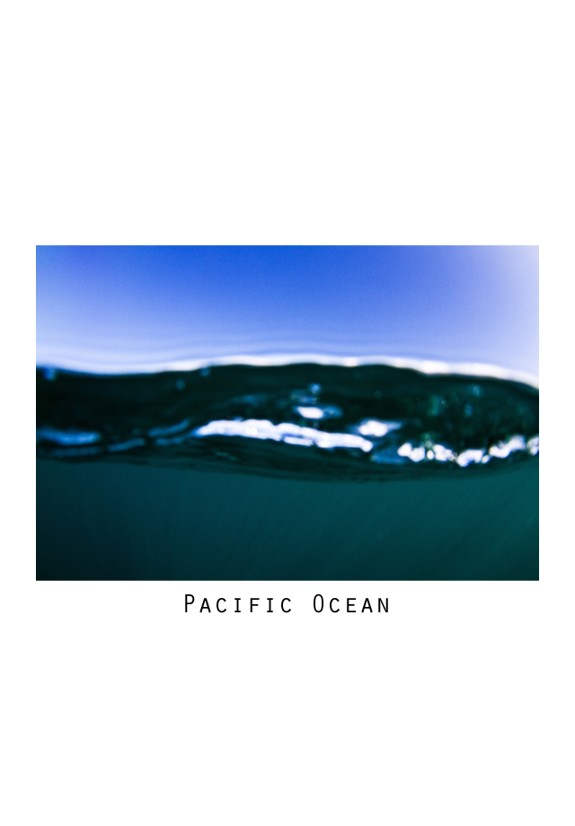 pacific ocean. text and photos. typeface and the ocean. water phoptography. hawaii. tropical. editorial photo.