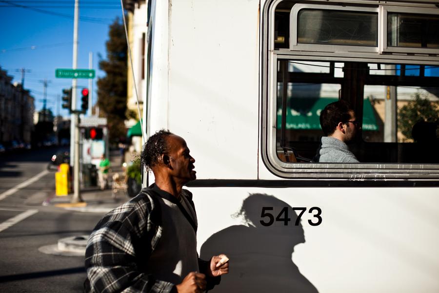 mission bus. bus stop. architecture. california. san Francisco