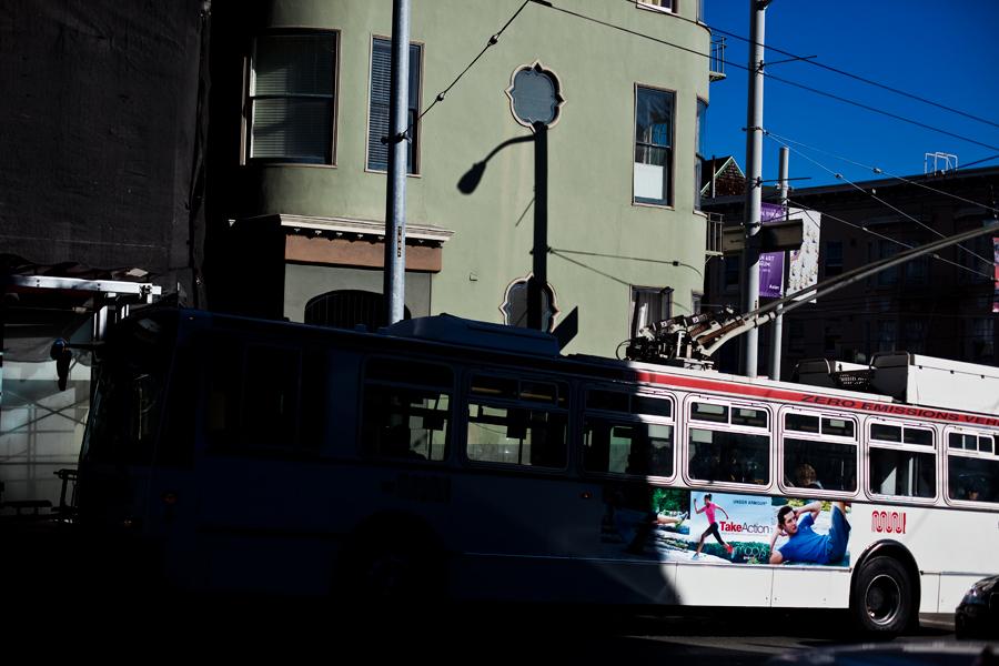 zero emissions. bus. storefront. architecture. california. san Francisco. travel photography.