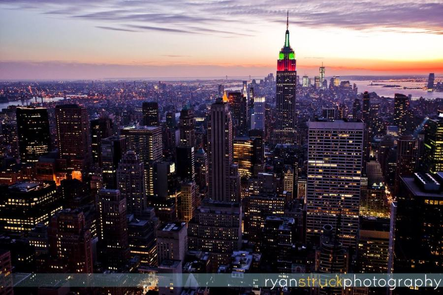 city landscape. urban. night time. nyc skyline. aerial photographer. nyc aerial photographer. travel. empire state building at night.